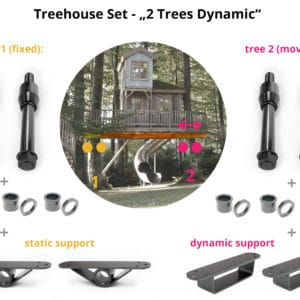 connecting two trees with dynamic set movable free independent treehouse basement