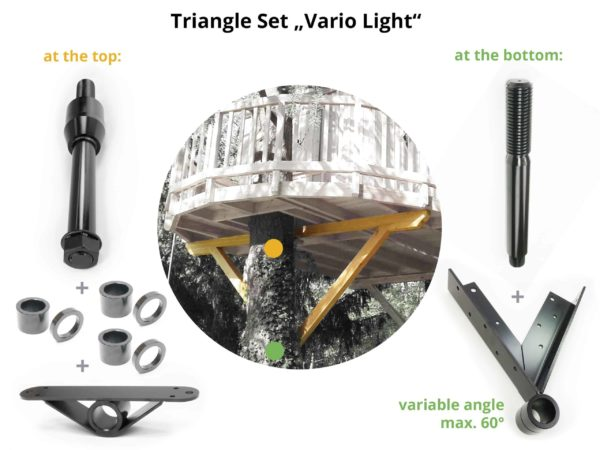 attaching wooden triangel to support treehouse platform vario light package set
