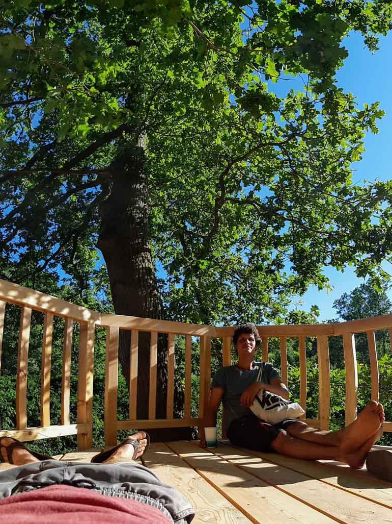 Baumhaus Entspannung nach Arbeit