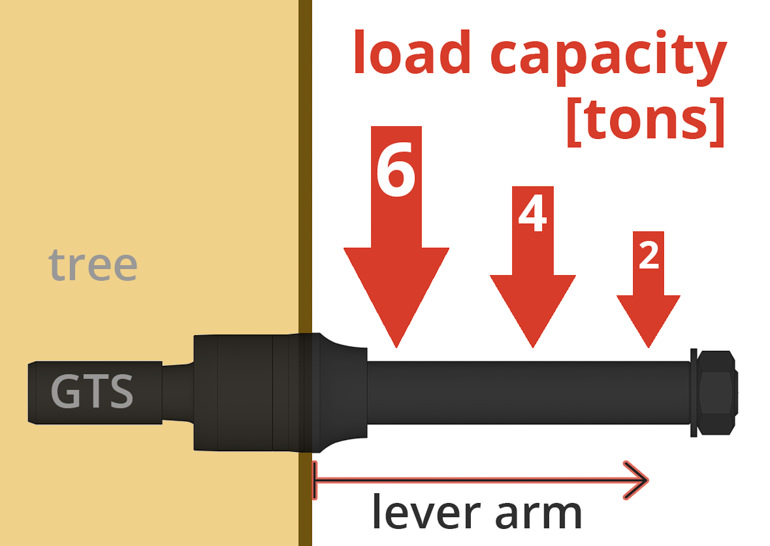 Load capacity of a tree house screw depending on the lever arm