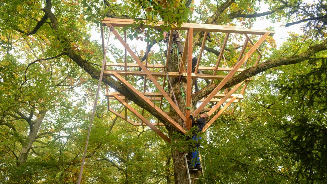 Große Baumhaus Plattform aus Holzbalken selber Bauen Anleitung