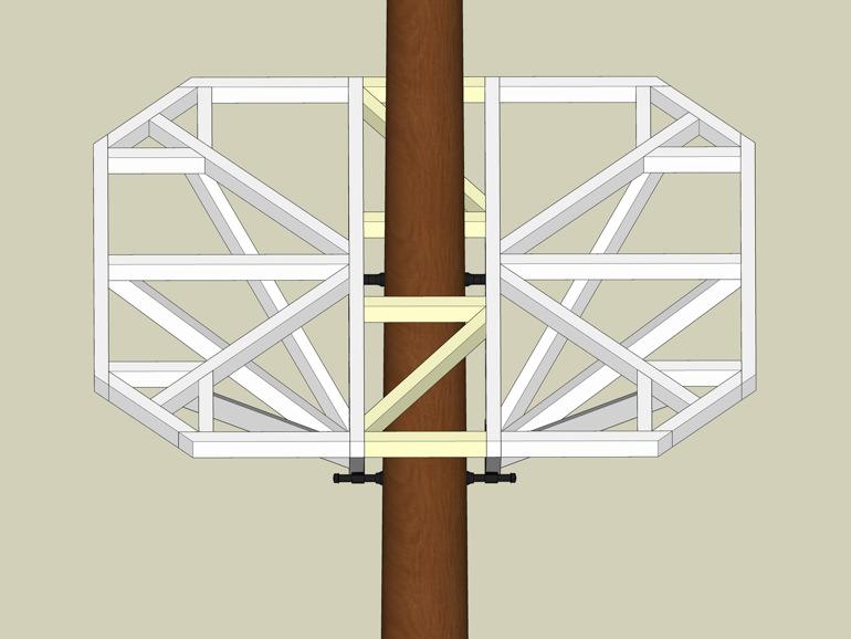 Beispiel großes Tragwerk Baumhaus Plan Schrauben
