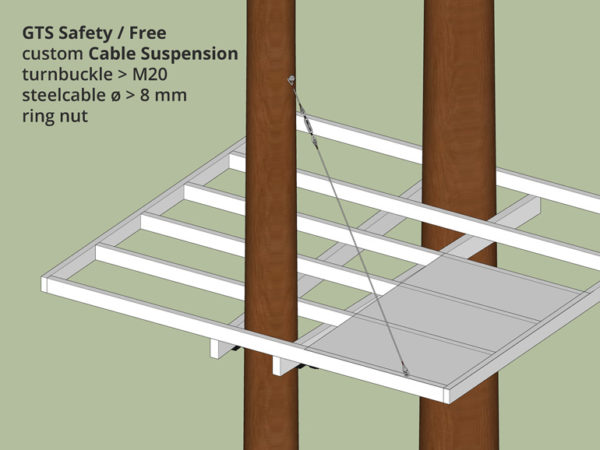 Suspend and secure tree house platform with steel cable