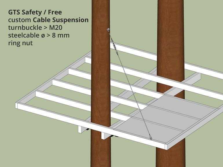 Baumhaus Plattform abhängen und sichern mit Stahlseil
