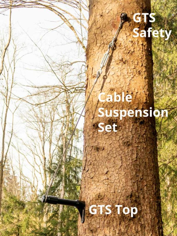 Tree screw secured from above and reinforced with rope suspension