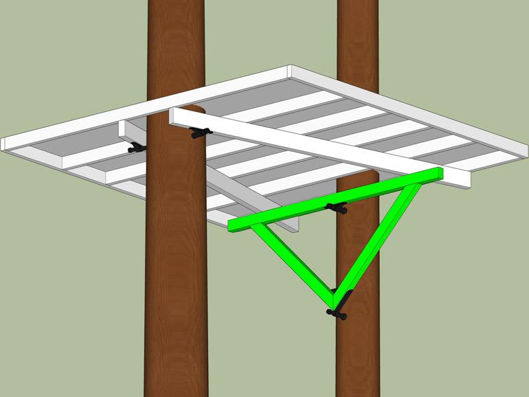 Baumplattform Anker Plan zwei Bäume